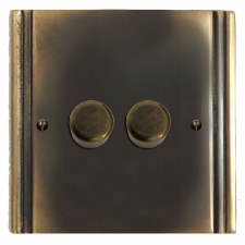 Plaza Dimmer Switch 2 Gang Dark Antique Relief