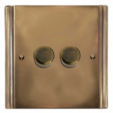 Plaza Dimmer Switch 2 Gang Hand Aged Brass