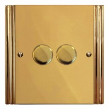 Plaza Dimmer Switch 2 Gang Polished Brass Unlacquered
