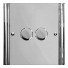 Plaza Dimmer Switch 2 Gang Polished Chrome