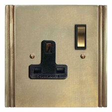 Plaza Switched Socket 1 Gang Antique Satin Brass