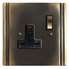 Plaza Switched Socket 1 Gang Dark Antique Relief