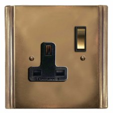 Plaza Switched Socket 1 Gang Hand Aged Brass