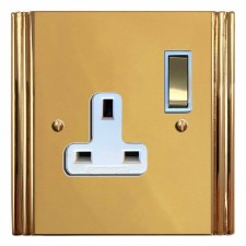 Plaza Switched Socket 1 Gang Polished Brass Lacquered & White Trim
