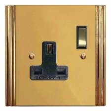 Plaza Switched Socket 1 Gang Polished Brass Unlacquered