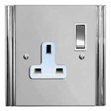 Plaza Switched Socket 1 Gang Polished Chrome & White Trim
