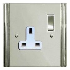 Plaza Switched Socket 1 Gang Polished Nickel