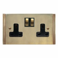 Plaza Switched Socket 2 Gang Antique Satin Brass