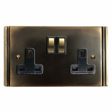 Plaza Switched Socket 2 Gang Dark Antique Relief