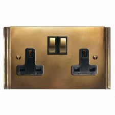 Plaza Switched Socket 2 Gang Hand Aged Brass