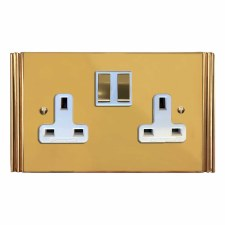 Plaza Switched Socket 2 Gang Polished Brass Lacquered & White Trim
