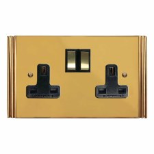 Plaza Switched Socket 2 Gang Polished Brass Unlacquered
