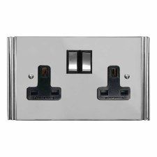 Plaza Switched Socket 2 Gang Polished Chrome & Black Trim