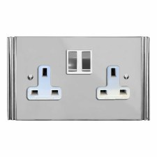 Plaza Switched Socket 2 Gang Polished Chrome & White Trim