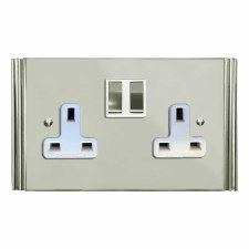 Plaza Switched Socket 2 Gang Polished Nickel