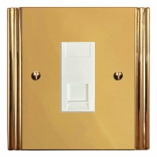 Plaza Telephone Socket Secondary Polished Brass Lacquered & White Trim