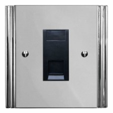 Plaza Telephone Socket Secondary Polished Chrome & Black Trim