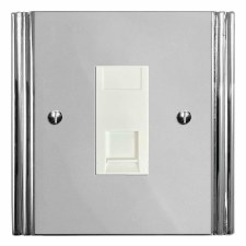 Plaza Telephone Socket Secondary Polished Chrome & White Trim