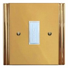 Plaza Fused Spur Connection Unit 13 Amp Polished Brass Lacquered & White Trim