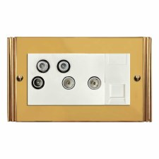 Plaza Sky+ Socket Polished Brass Lacquered & White Trim