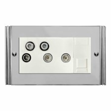 Plaza Sky+ Socket Polished Chrome & White Trim