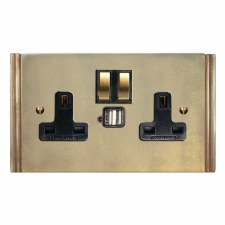 Plaza Switched Socket 2 Gang USB Antique Satin Brass