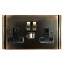 Plaza Switched Socket 2 Gang USB Dark Antique Relief