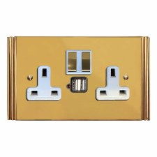 Plaza Switched Socket 2 Gang USB Polished Brass Lacquered & White Trim
