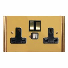 Plaza Switched Socket 2 Gang USB Polished Brass Unlacquered