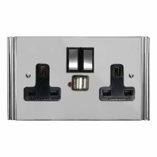Plaza Switched Socket 2 Gang USB Polished Chrome & Black Trim