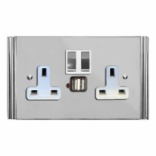 Plaza Switched Socket 2 Gang USB Polished Chrome & White Trim