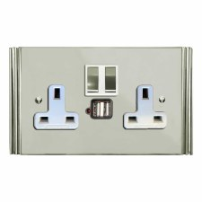 Plaza Switched Socket 2 Gang USB Polished Nickel