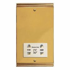 Plaza Shaver Socket Polished Brass Lacquered & White Trim