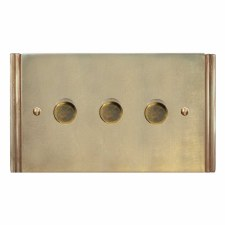 Plaza Dimmer Switch 3 Gang Antique Satin Brass