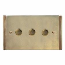 Plaza Dimmer Switch 3 Gang Antique Satin Brass