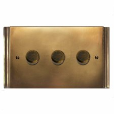 Plaza Dimmer Switch 3 Gang Hand Aged Brass
