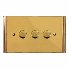 Plaza Dimmer Switch 3 Gang Polished Brass Unlacquered