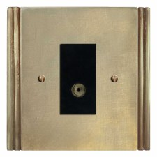 Plaza TV Socket Outlet Antique Satin Brass