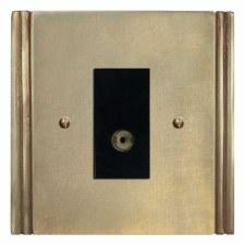 Plaza TV Socket Outlet Antique Satin Brass