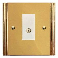Plaza TV Socket Outlet Polished Brass Lacquered & White Trim
