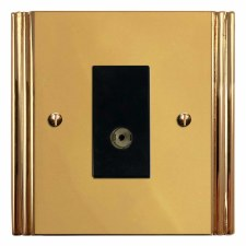 Plaza TV Socket Outlet Polished Brass Unlacquered