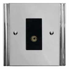 Plaza TV Socket Outlet Polished Chrome & Black Trim