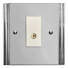 Plaza TV Socket Outlet Polished Chrome & White Trim