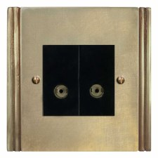 Plaza TV Socket Outlet 2 Gang Antique Satin Brass