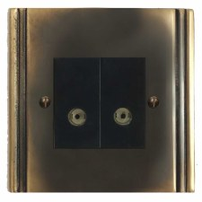 Plaza TV Socket Outlet 2 Gang Dark Antique Relief