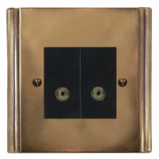 Plaza TV Socket Outlet 2 Gang Hand Aged Brass