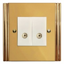 Plaza TV Socket Outlet 2 Gang Polished Brass Lacquered & White Trim