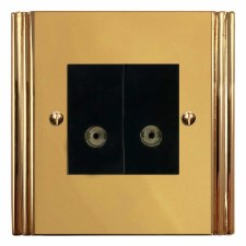 Plaza TV Socket Outlet 2 Gang Polished Brass Unlacquered