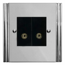 Plaza TV Socket Outlet 2 Gang Polished Chrome & Black Trim