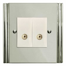 Plaza TV Socket Outlet 2 Gang Polished Nickel